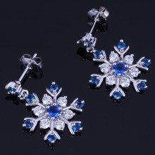 Fantastic Snowflake Blue Cubic Zirconia White CZ 925 Sterling Silver Drop Dangle Earrings For Women V1023