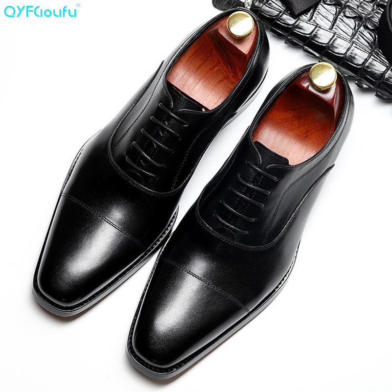 New High Quality Genuine Leather Men Shoes Lace Up Luxury Italian Business Dress Men Oxfords Shoes Male Formal Shoes in Formal Shoes from Shoes
