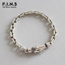 цена на F.I.N.S Real 925 Sterling Silver Bracelet Simple Women Men Charm Bracelets Bangles Link Chain Bracelet Silver Costume Jewelery
