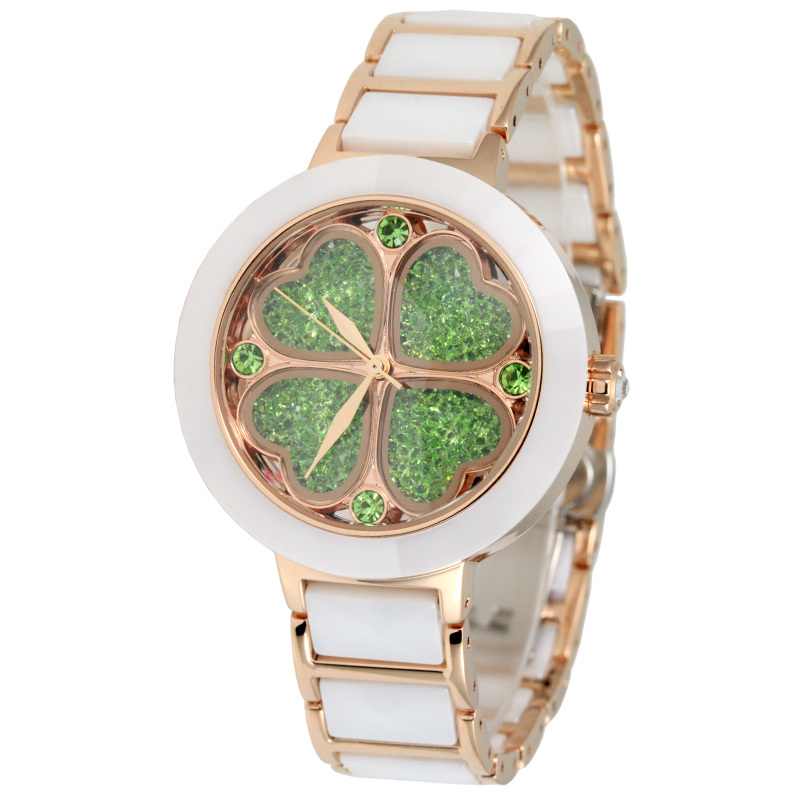 Lucky Four-Leaf Clover Women Ceramic Bracelet Watches Quartz Elegant Lady Dress Wrist watch Brand Happy Crystals Montre femme