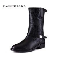 Новинка 2017 зимние ботинки с мехом обувь из натуральной кожи женские большие размеры 35 40 обувь высокого качества для женщин bassiriana