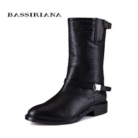 2017 new winter boots with fur Genuine leather shoes woman Big sizes 35 40 High quality shoe for womens BASSIRIANA