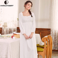 Noble Cotton Sleepwear Dress Gown Elegant Nightgown Princess Dress Vintage Lace Gown Bride Bridesmaid Nightgow High Quality