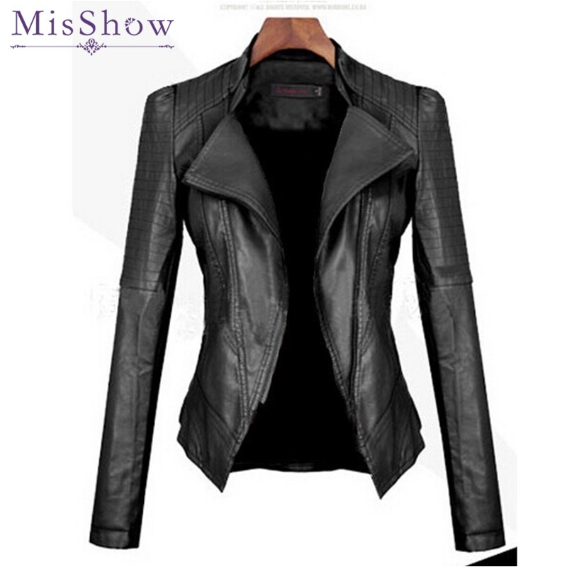 MisShow  Women Autumn Winter Casual Leather Jackets Ladies Black Turn-down Collar Long Sleeve Basic Jacket Coat Women