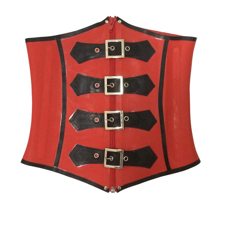Corset Latex femmes noir et rouge 1mm épaisseur dames en caoutchouc sous le buste Bustiers Service sur mesure LCC018