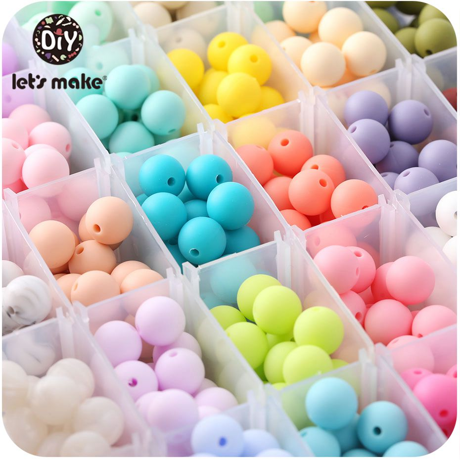 Let's Make Food Grade 20Pc Silicone Beads Teether Mini Heart Bracelet DIY Jewelry Baby Teether Round Beads 12mm Baby Teether Toy
