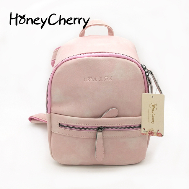 af15dfd00723 2016 New Korean Tide Small Fresh College Mini Backpack Soft Pu Candy Color Small  Backpack Female Bag