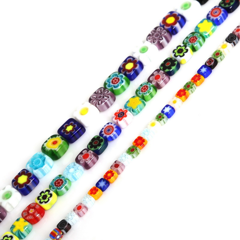 New Arrival Flat Square Millefiori Flower Lampwork Glass Beads Mix Color for Necklace Bracelet DIY Jewelry Making(China)