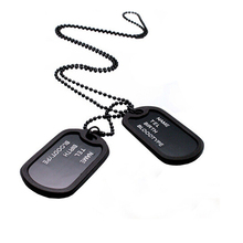 Free Shipping New Unique Mens Military Army Style Black 2Dog Tags Chain Mens Pendant Necklace Jewelry Accessories Couple Unisex