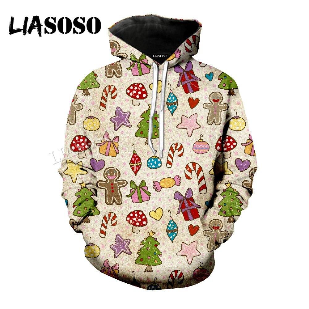 LIASOSO new neutral fashion sweatshirt retro Christmas toy 3D printing short sleeve / shirt / hooded shirt / zipper hoodie CX084