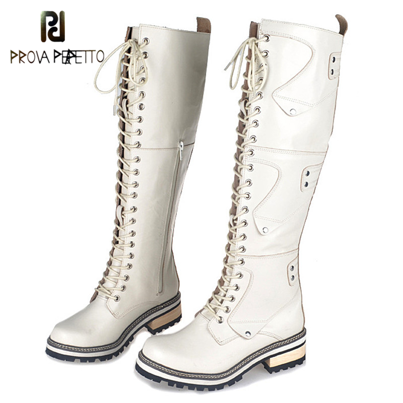 Prova Perfetto 2017 British Style White Knight Boots Genuine Leather Temperament Knee Boot Winter Plush In Thick Bottom Shoes prova perfetto winter plush in warm boots suede leather bling fringe design over the knee boot solid spike heels knight shoes