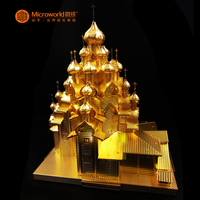 Microworld 3D metal puzzle Russia Church of The Transfiguration DIY Laser Cut Jigsaw Model gifts For Adult Educational Toys