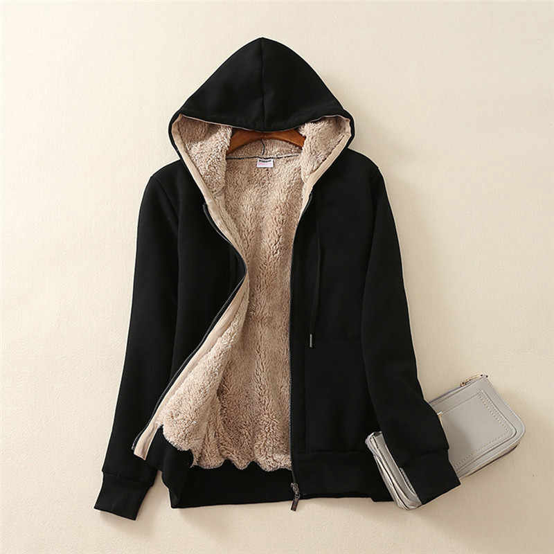 Frauen Casual Winter Warme Sherpa Gefüttert langarm Zip Up Hooded Plus Samt Verbund Sweatshirt Jacke Mantel Dropship L #13
