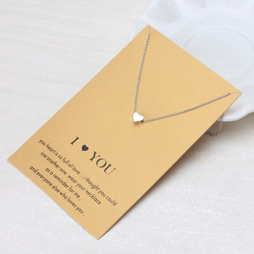 1pc Minimalist Heart Charms Necklaces Links Chains Gold Plate For Women Jewelry Gift