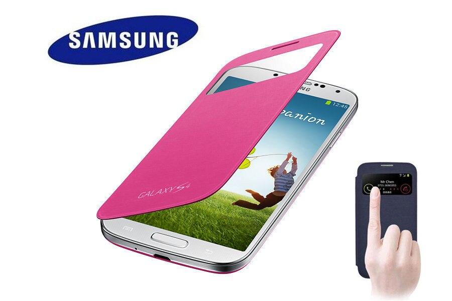 Оригинальный Samsung Galaxy <font><b>S4</b></font> IV i9500 флип Smart <font><b>Cover</b></font> Тонкий кожаный Батарея дом Чехол кобура ef-fi950b Роза Olor