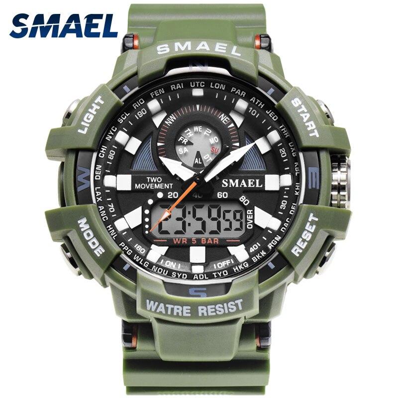 SMAEL De Luxe Hommes Montre Casual Sport Homme Horloge Montres Double Affichage Montre Chronographe Alarme Horloge 1557A Noir Montre Pour Hommes