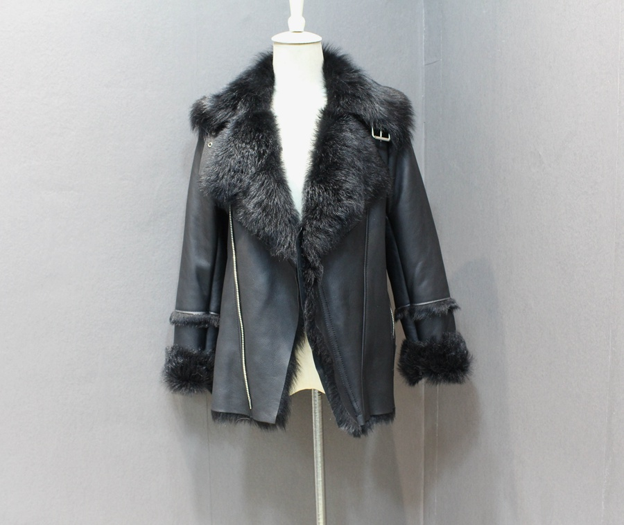 women natural leather and fur winter jacket warm (9)