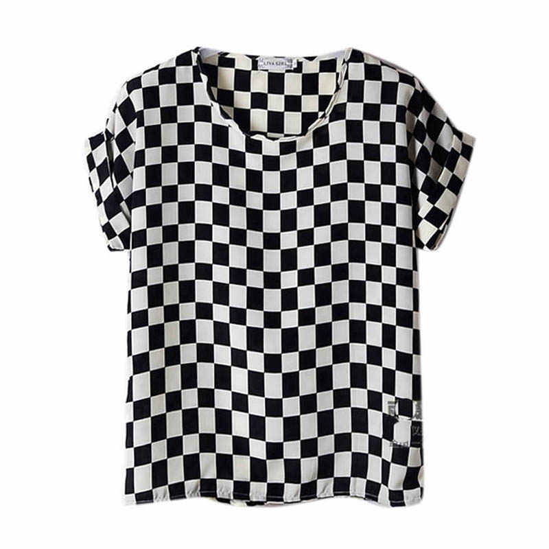 Letni nadruk damski T Shirt O Neck Plaied drukowane damskie topy z krótkim rękawem koszulki damskie Batwing luźna z szyfonu koszula Feminino