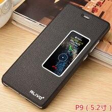 Huawei p9 case кожа флип окно защитная крышка huawei ascend p9 мешок мобильного телефона case p 9 аксессуар couro капа coque 5.2″