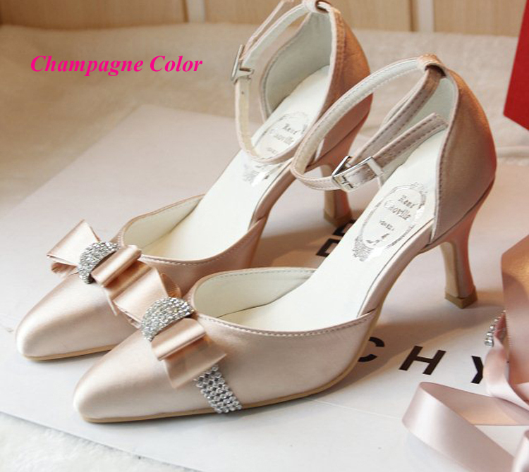 Perfect Online Shop Custom Made Elegant Bridal Wedding Shoes Satin Champagne Color  Middle Heel Pointed Toe Women Rhinestone Strap Bridesmaid Shoes |  Aliexpress ... Images