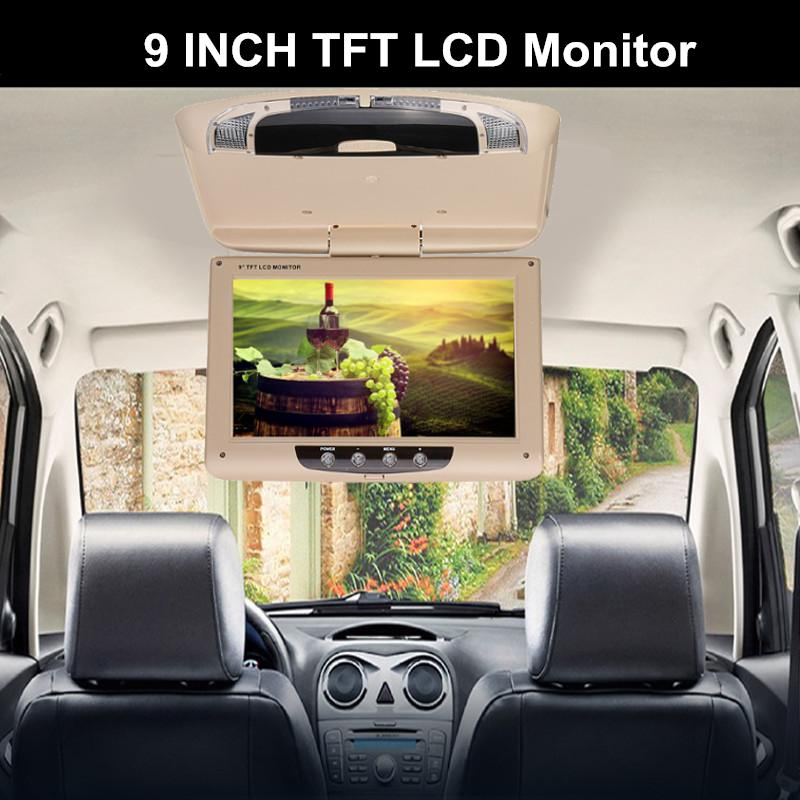 9 Inch Car Roof Monitor with Remote Controller Ceiling Mount Flip Down LCD Digital Screen DVD Player IR Transmitter+Dome Light