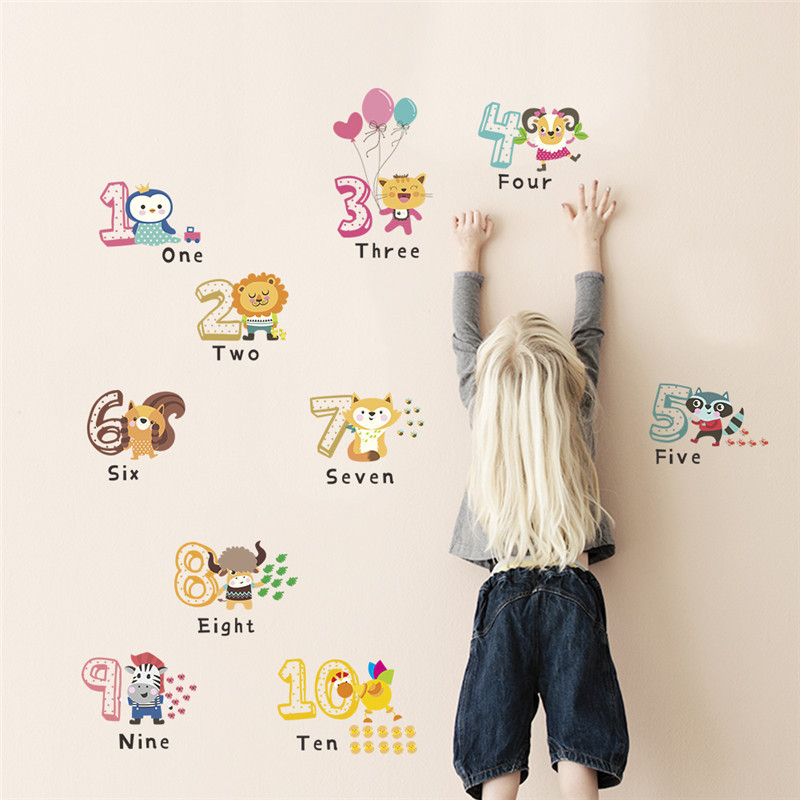 animal number wall sticker for kids room home decoration wall decals alphabet children birthday gift