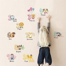 animal number wall sticker for kids room home decoration decals alphabet children birthday gift