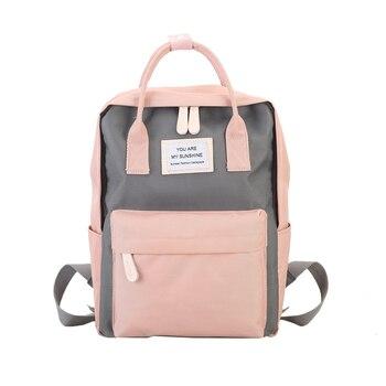 Women Canvas Backpacks Candy Color Waterproof School Bags for Teenagers Girls Big Cute Laptop Backpack Patchwork Kawaii Backpack