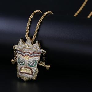 Image 2 - Topgrillz Mới Đá Ra Uka Mặt Nạ Nguyên Mặt Dây Chuyền Vòng Cổ Nam Micro Trải Nhựa Hip Hop Vàng Bạc Màu Bling Quyến Rũ dây Chuyền Trang Sức
