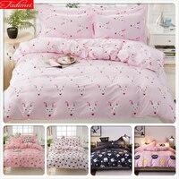 Rabbit Pattern Pink Duvet Cover Kids Girl Soft Cotton Bedspreads 3pcs 4pcs Bedding Set Single Full Twin Queen Size 1.35m 1.5m 2m