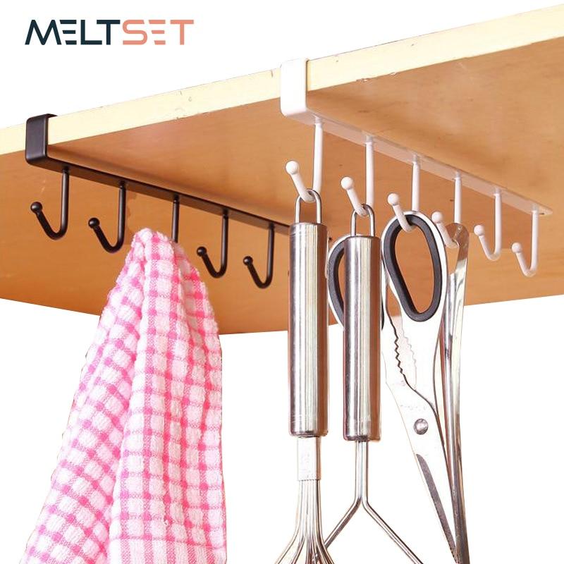 6 Hooks Multifunction Iron Shelf Cabinet Rack Mug Tea Cup Holder Storage Hooks