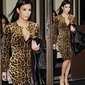 FEIBUSHI New Fashion 2017 Womens kim kardashian Leopard Printed Elegant Sexy Contrast Patchwork Slimming Casual Party Dress