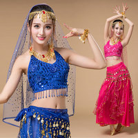 4 Pieces 6 Colors Adult Women Bollywood Costume Indian Bellydance Costume Oriental Tribal Arabic Egypt Belly Dance Costumes Sets