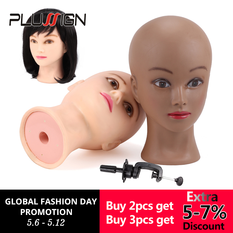 Professional Bald Mannequin Head With Stand Factory Sale Female Manikin Head For Wigs Hats Jewelry For Women Girls 52.cm 21 inch sexy sports bra and leggings