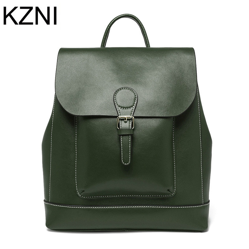 KZNI Genuine Leather Purse Women Bag Female Backpack Sac a Main Femme De Marque Bolsas Feminina L041901 kzni genuine leather purse crossbody shoulder women bag clutch female handbags sac a main femme de marque l123103