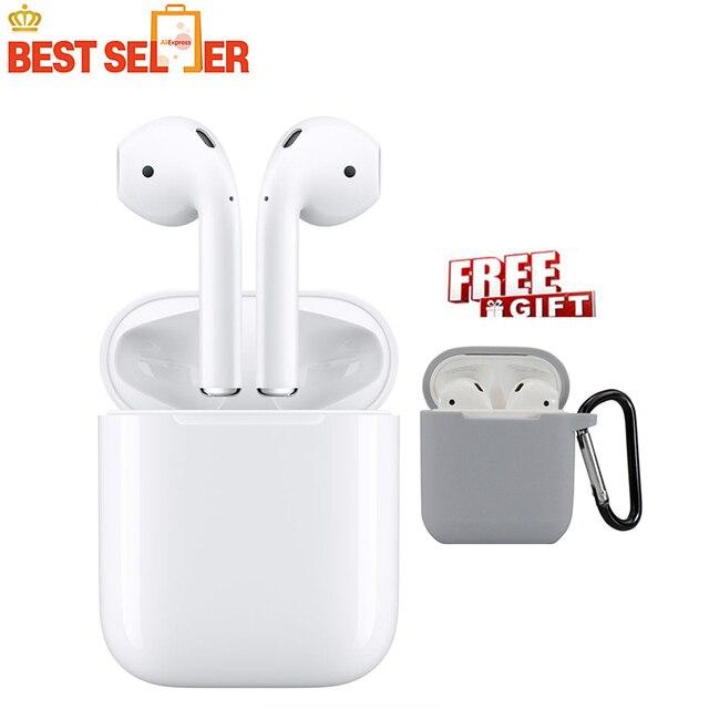 Oryginalny Apple AirPods 1st bezprzewodowa Bluetooth słuchawki do iPhone'a Xs Max 7 Plus iPad MacBook Apple Watch słuchawka zestawu głosnomówiącego
