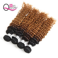 May Queen Hair Ombre T1B/30 Indian Deep Wave 3&4Pieces Two Tone Color Remy Hair Extensions 100% Human Hair Weave Bundles