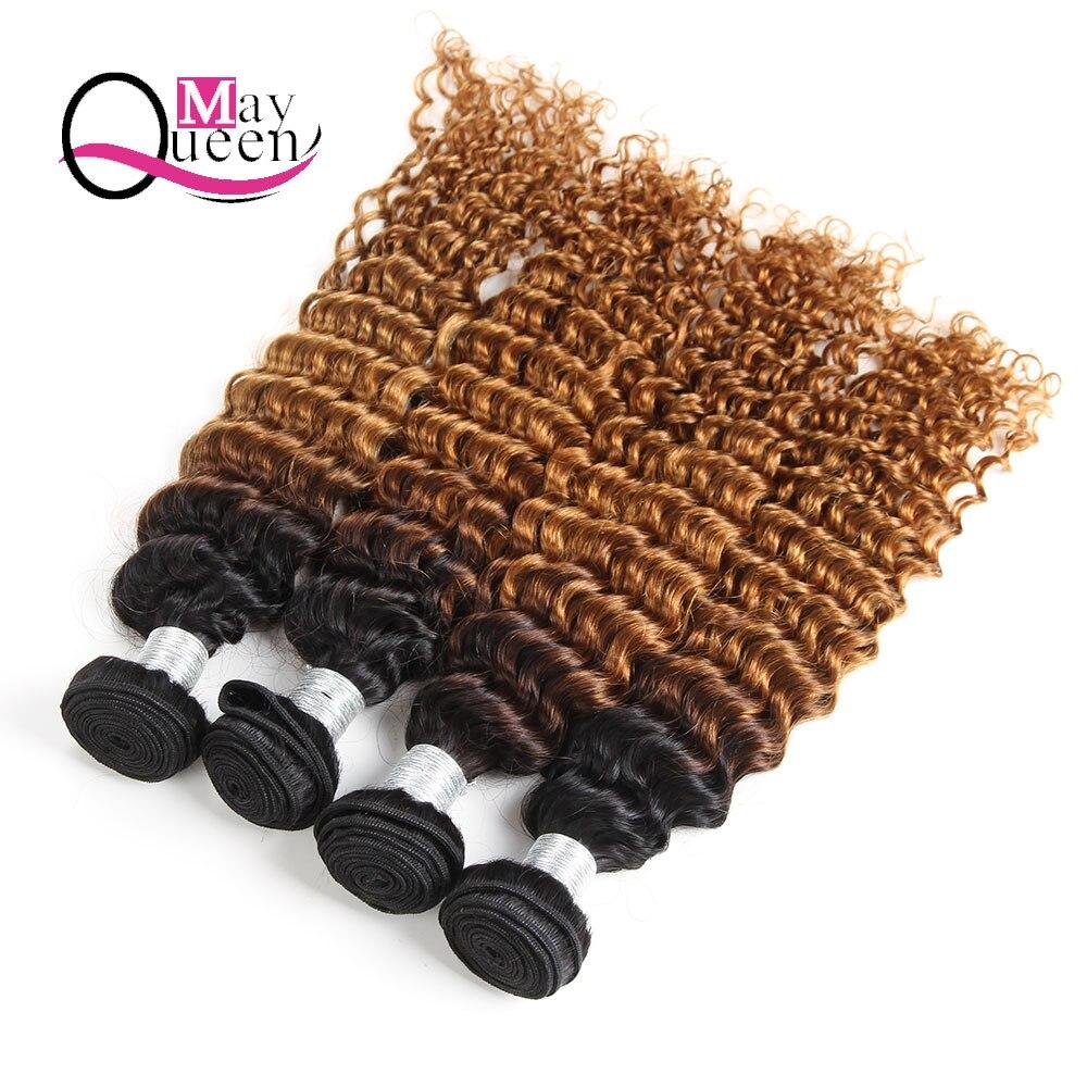 May Queen cheveux Ombre T1B/30 indien vague profonde 3 & 4 pièces deux tons couleur Remy Extensions de cheveux 100% faisceaux de cheveux humains