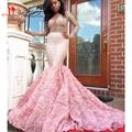 Outono Nova Chegada de Luxo Rosa Beading Sereia Prom Vestidos Sexy Nude Ver Através Backless Com Flores Vestidos de Noite Projeto