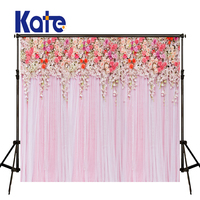 KATE Photography Backdrop 8x8ft Wedding Backdrops Pink Curtain Background Photography Floral Backdrops for Wedding Photocall