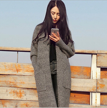 Autumn new women's knitted sweaters fashion casual Solid color big size long section loose  cardigan sweaters coat women C221