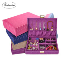 Купить с кэшбэком Fashion Flannel jewelry box 5 colors linen earrings holder cases Large space ring storage box for girl