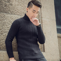 Slim Fit Knitted Warm Knitwear for Men Sweater Men Thick Pullover Sweater Quality Trend Knitted Blending Casual Sweaters Homme