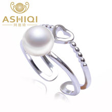 ASHIQI s925 sterling silver ring 7-8mm Natural freshwater Pearl jewelry for women LOVE Heart(China)