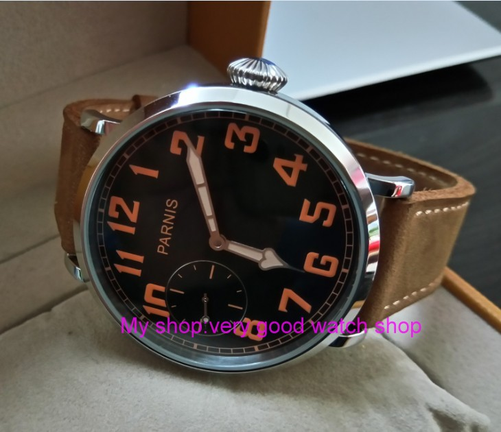46mm parnis Black dial Asian 6497 17 jewels Mechanical Hand Wind movement men watch luminous Mechanical watches zdgd189a