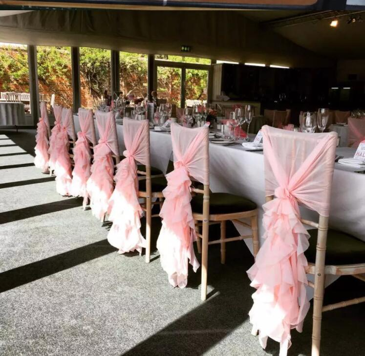 Free Shipping 50pcs Chiffon Pink Chair Hood for Wedding Theme Party Chair Sash curly willow chair sash More Colors Available