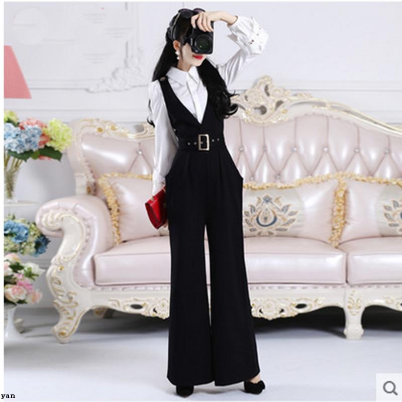 f41a8606c 2018 outono e inverno nova versão Coreana do cinto preto cinto selvagem das  mulheres largas calças perna calças