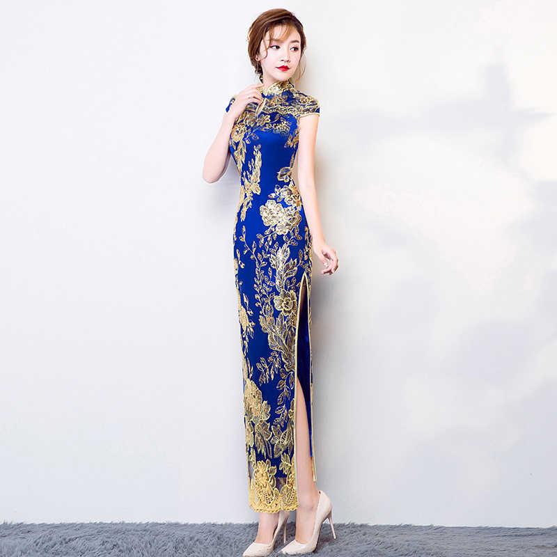 Винтажное китайское стильное чонсам, свадебное платье синего цвета, женское кружевное длинное платье Qipao, вечерние платья в стиле ретро, одежда Vestido s-xxxl