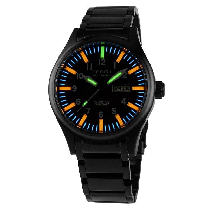 EPOCH 7019G bracelet en acier étanche 100 m 63 tritium tubes à gaz lumineux hommes mode montre-bracelet mécanique