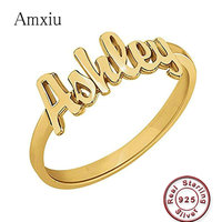 Amxiu Custom Any Size 925 Sterling Silver Rings Engrave Name Ring For Women Men Gift Accessories Jewelry For Lovers Kids ID Tags